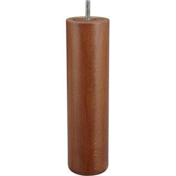 Pied de lit / sommier cylindrique fixe hêtre teinté marron, 25 cm