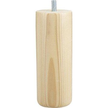 Lot de 4 pieds de meuble cylindrique fixes pin vernis blanc, 15 cm