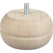 Lot de 4 pieds de meuble boule fixes hêtre brut blanc / beige / naturels, 5 cm