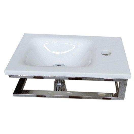 lave mains toscane verre blanc 40 x 25 cm leroy merlin. Black Bedroom Furniture Sets. Home Design Ideas