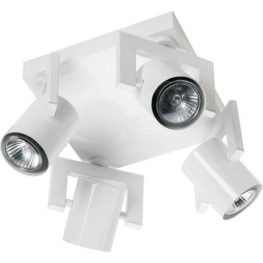 plafonnier 4 spots halog ne 4 x gu10 blanc rock leroy. Black Bedroom Furniture Sets. Home Design Ideas