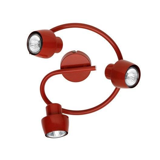 plafonnier 3 spots halog ne 3 x gu10 rouge jett leroy. Black Bedroom Furniture Sets. Home Design Ideas