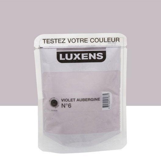 Testeur peinture violet aubergine 6 luxens couleurs int rieures satin l leroy merlin for Peinture violet aubergine