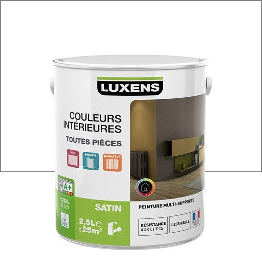 peinture blanc blanc 0 luxens couleurs int rieures satin 2 5 l leroy merlin. Black Bedroom Furniture Sets. Home Design Ideas