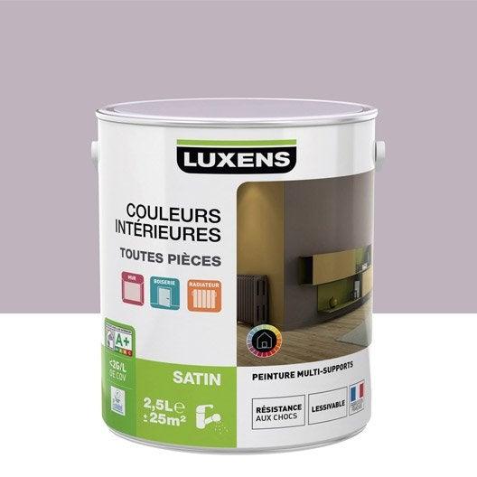 Peinture violet aubergine 6 luxens couleurs int rieures satin 2 5 l leroy merlin for Peinture couleur aubergine