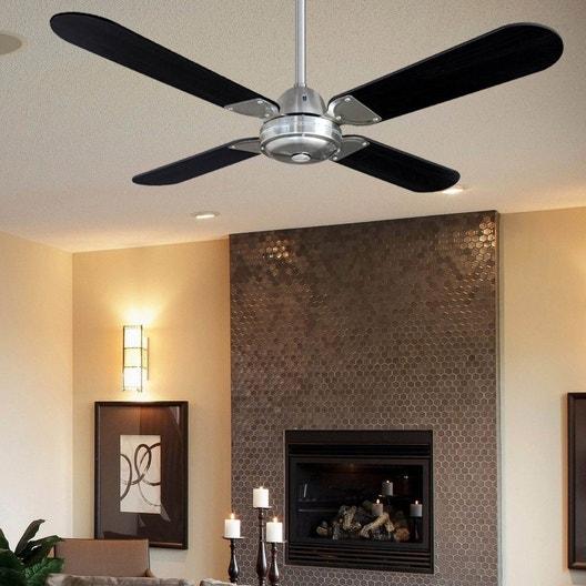 ventilateur de plafond moderne owando bois noir leroy merlin. Black Bedroom Furniture Sets. Home Design Ideas
