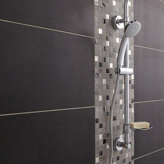 Mosa que mur glasstone oslo noir leroy merlin for Mosaique salle de bain leroy merlin