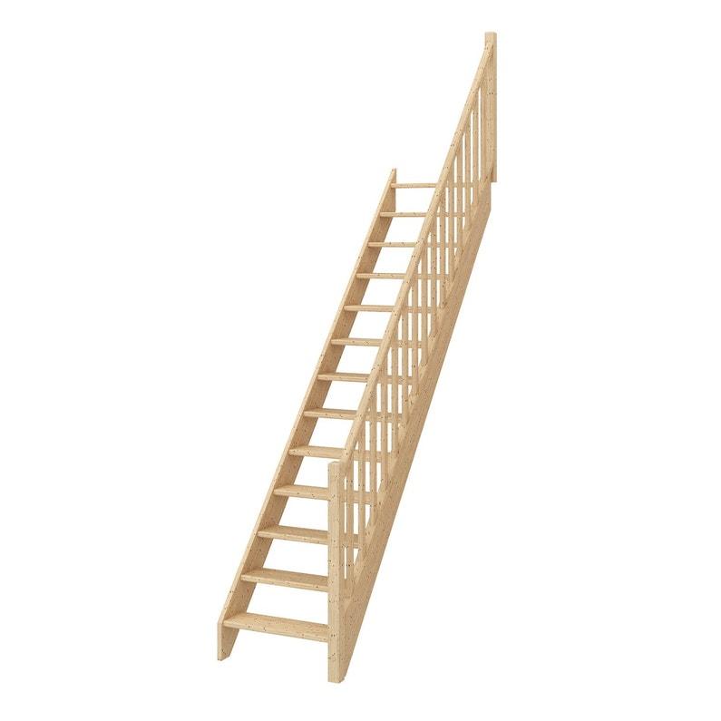 Escalier Droit Bois Sapin Deva 2 Scm 13 Marches Sapin Naturel Rampe Droite L 76