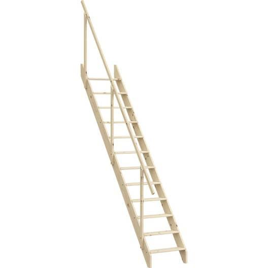 escalier droit echelle de meunier avec rampe structure bois marche bois leroy merlin. Black Bedroom Furniture Sets. Home Design Ideas