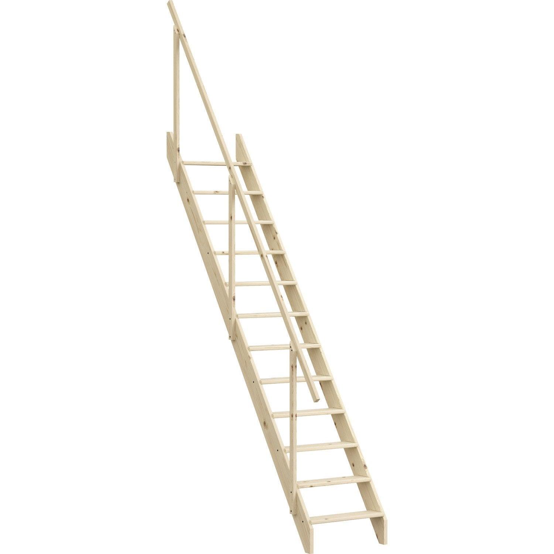 Largeur D Une Marche D Escalier escalier droit echelle de meunier avec rampe structure bois marche bois