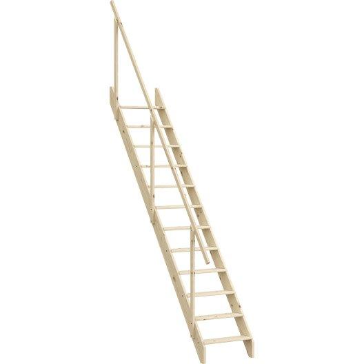 escalier droit echelle de meunier avec rampe structure bois marche