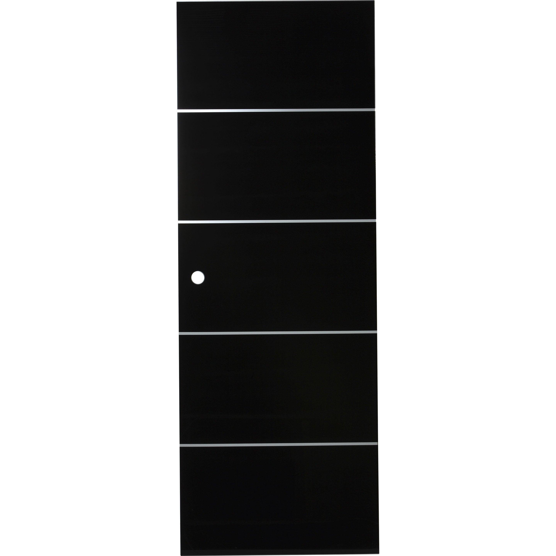 Porte coulissante verre vitrée Miami noir, H.204 x l.73 cm