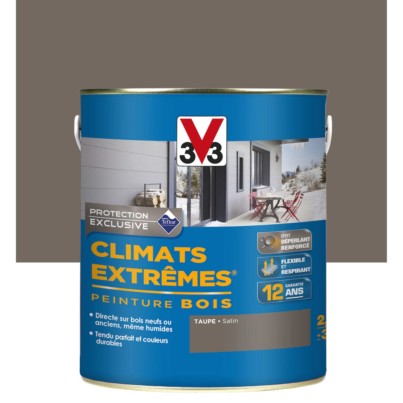 Couleur Peinture Volet Bois peinture bois extérieur climats extrêmes v33, taupe, 2.5 l