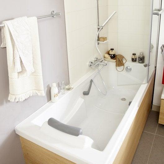 Baignoire rectangulaire L.175x l.75 cm blanc, SENSEA Premium confort