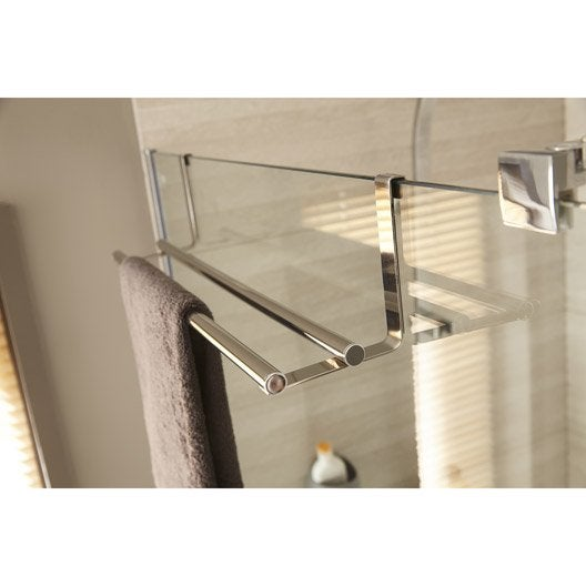 Porte serviettes 2 barres fixes hook chrom leroy merlin for Fixation ventouse salle de bain