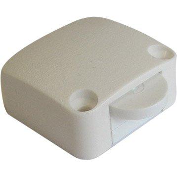 Poussoir rupteur en saillie TIBELEC, plastique, blanc