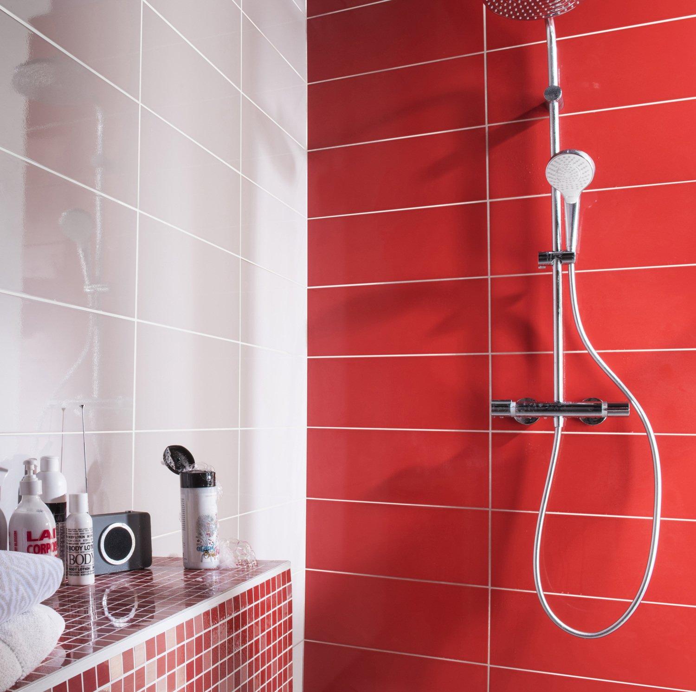 Du carrelage rouge et gris pour un douche moderne   Leroy Merlin