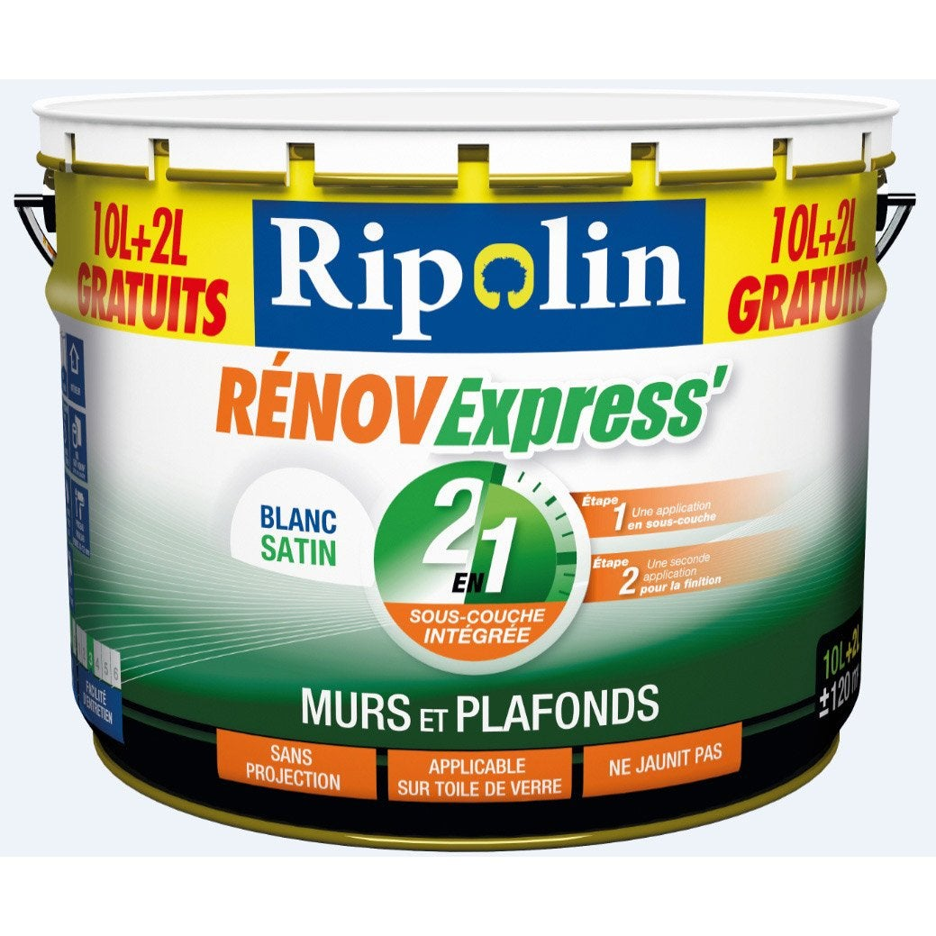 Peinture blanche mur, plaf et bois Renov express RIPOLIN, 12 l