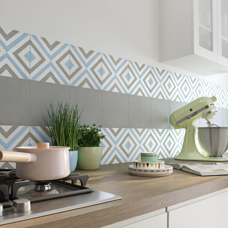 carreau de ciment belle poque dcor anna gris bleu et blanc l20 x l20 cm - Salle De Bain Gris Et Bleu