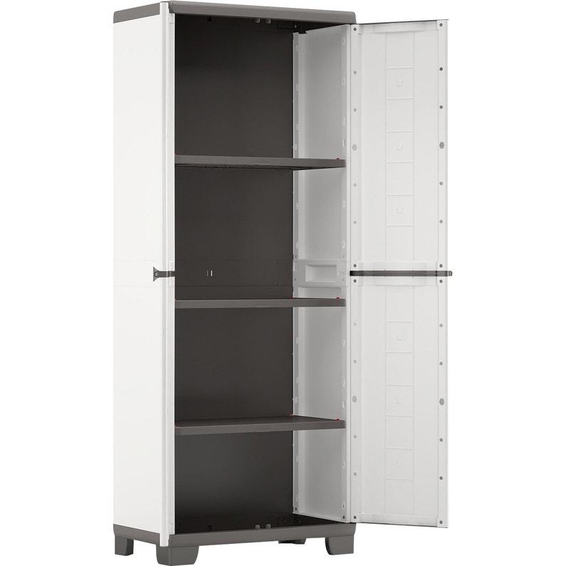 Lot de 2 armoires résine, haute et basse, blanc/gris KIS Jolly