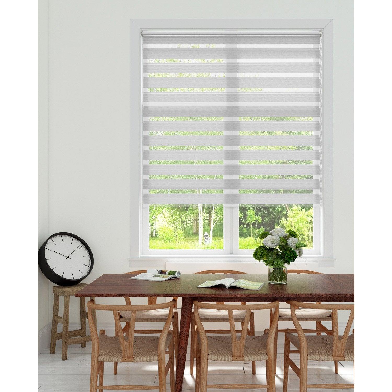 store enrouleur jour nuit lign lign gris blanc 52 55 x 160 cm leroy merlin. Black Bedroom Furniture Sets. Home Design Ideas