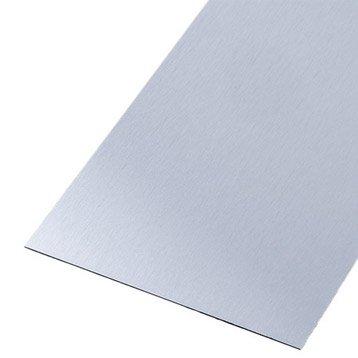 Tôle lisse acier inoxydable brossé, L.100 x l.60 cm x Ep.0.8 mm