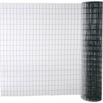 Grillage soudé vert H.1.8 x L.20 m, maille de H.100 x l.63 mm