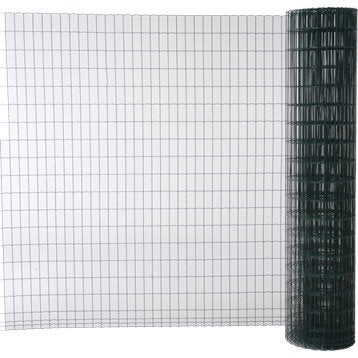 Grillage soudé vert H.1.8 x L.20 m, maille de H.100 x l.50 mm