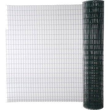 Grillage soudé vert H.2 x L.20 m, maille de H.100 x l.50 mm