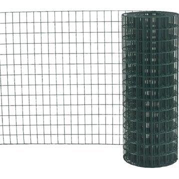 Grillage soudé vert H.1.2 x L.20 m, maille de H.75 x l.50 mm