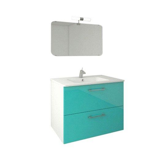 Meuble sous vasque x x cm bleu happy for Produit de salle de bain