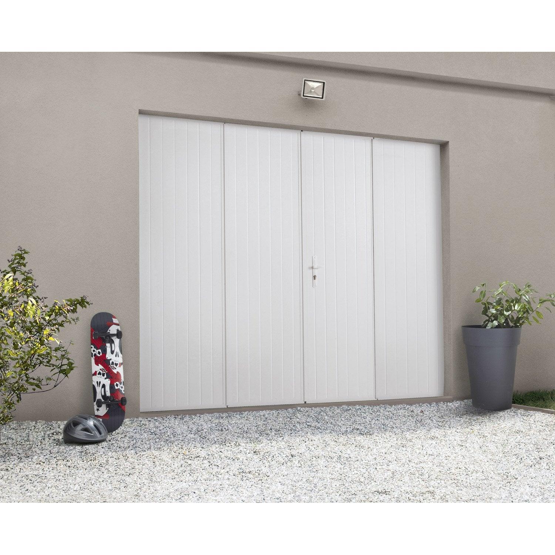 Porte De Garage Pliante Manuelle ARTENS Essentiel X Cm Avec - Porte de garage sectionnelle avec poignée de porte pvc a clé