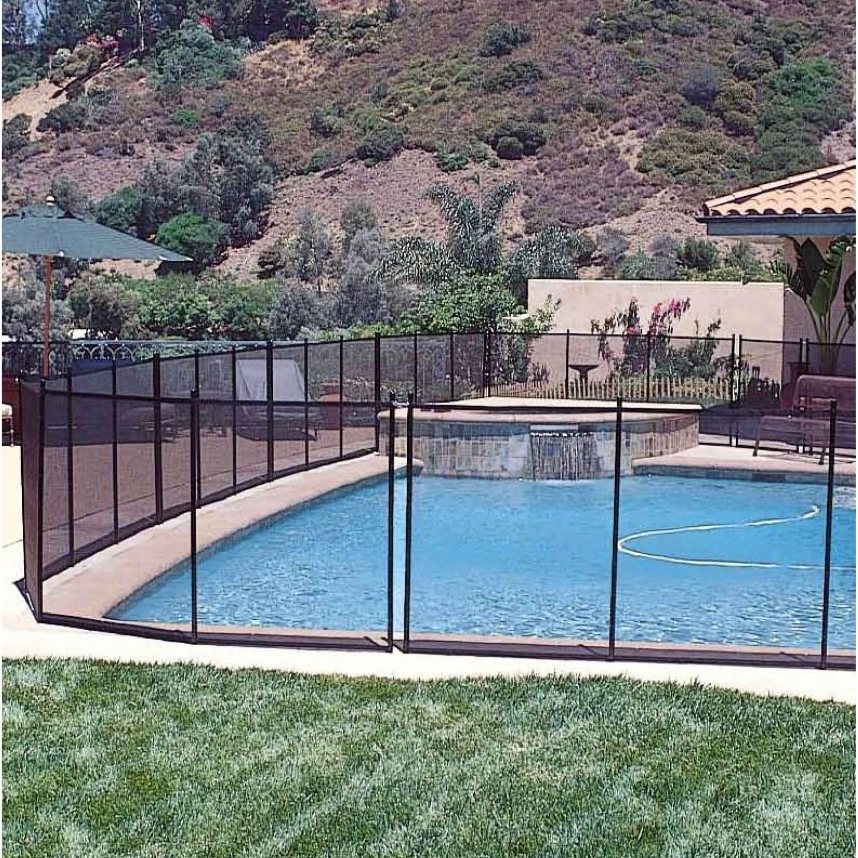 Barrière pour piscine aluminium transparent / noir, H.1.28 x l.366 cm