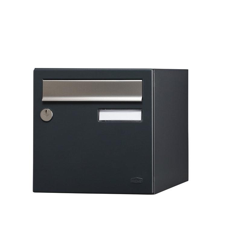 Boîte Aux Lettres Normalisée 1 Porte Extérieur Renz Acier Anthracite Mat