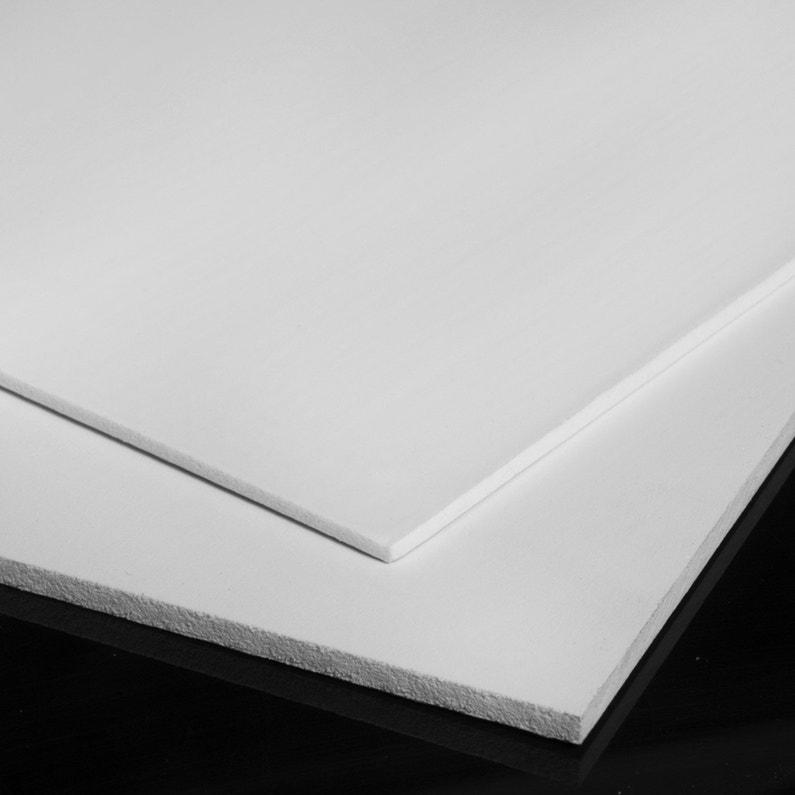 Plaque Pvc Expansé Pvc Blanc Laiteux Lisse L100 X L60 Cm Ep6 Mm