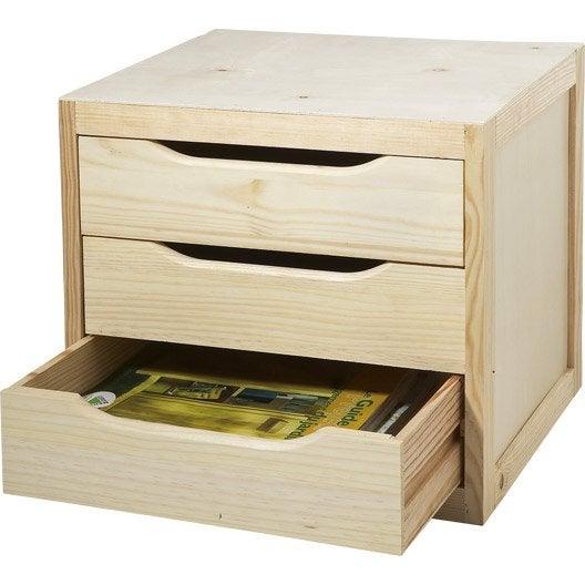 bloc tiroir en pin l 39 x p 30 x h 29 5 cm leroy merlin. Black Bedroom Furniture Sets. Home Design Ideas