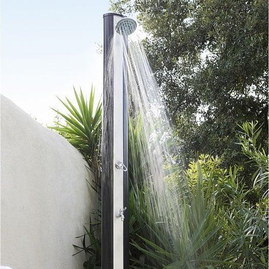 douche solaire droite abs noir solaris de luxe 35 l leroy merlin. Black Bedroom Furniture Sets. Home Design Ideas