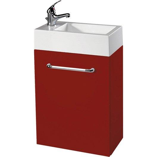 Meuble lave mains avec miroir young rouge rouge n 5 for Lave main avec meuble