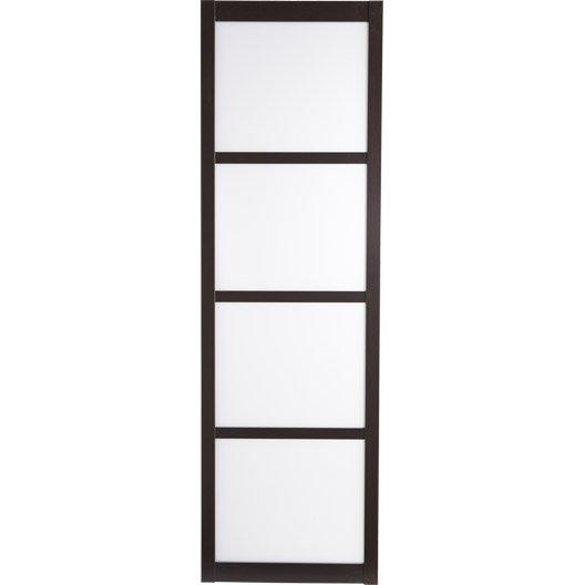 Porte coulissante vitr e valence 204x63cm leroy merlin for Porte 63 cm coulissante