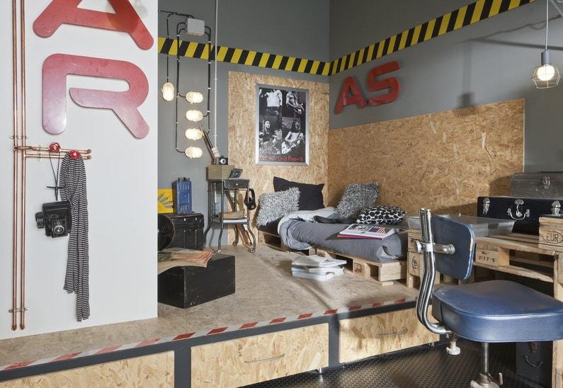 une chambre d 39 ado de style industriel leroy merlin. Black Bedroom Furniture Sets. Home Design Ideas