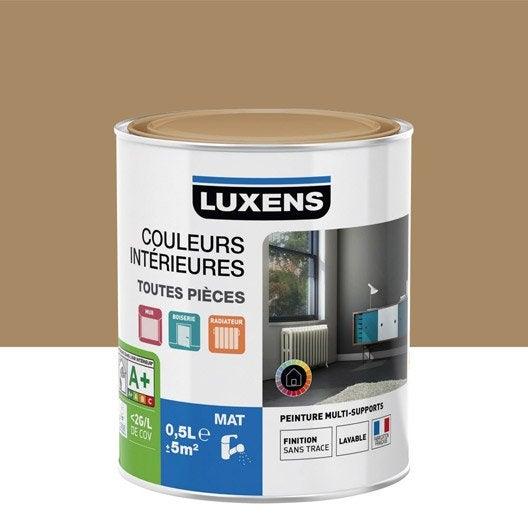 Peinture brun caramel 3 luxens couleurs int rieures mat 0 5 l leroy merlin for Peinture couleur caramel