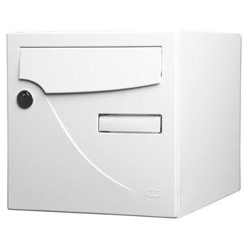 Boîte aux lettres normalisée la poste 1 porte RENZ Essentiel, acier blanc