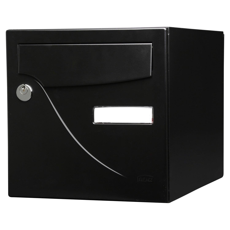 bo te aux lettres normalis e la poste 2 portes renz essentiel acier noir leroy merlin. Black Bedroom Furniture Sets. Home Design Ideas