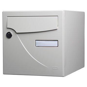 Boîte aux lettres normalisée la poste 2 portes RENZ Essentiel, acier ivoire