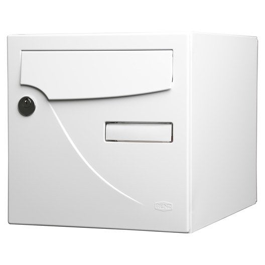 bo te aux lettres normalis e la poste 2 portes renz essentiel acier blanc leroy merlin. Black Bedroom Furniture Sets. Home Design Ideas