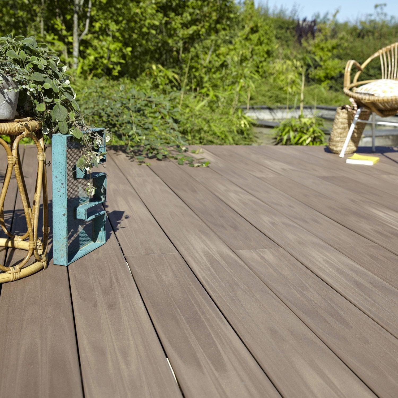 Planche Composite Terrasse Premium, Brun, L.240 X L.15 Cm X