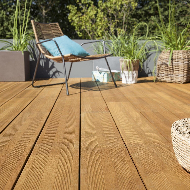 Planche bois Hévéa, coloris ipé, L.47 x l.47.47 cm x Ep.47 mm ... - Terrasse Bois Composite Leroy Merlin