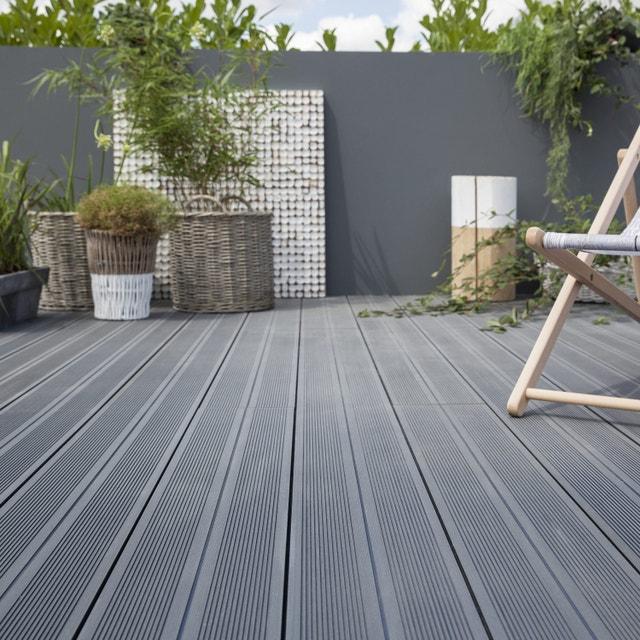 des lames larges grises pour la terrasse en composite   leroy merlin