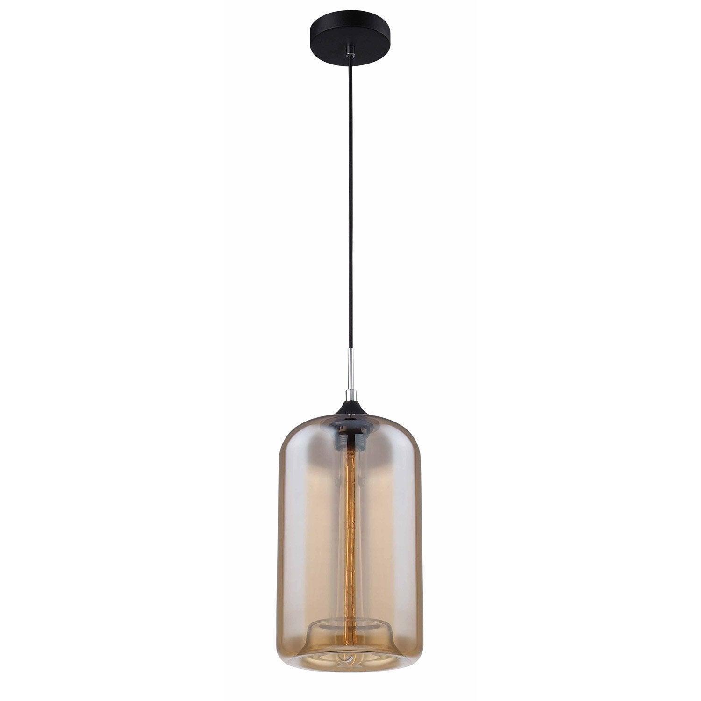 suspension e27 style industriel soho verre fum 1 x 40 w. Black Bedroom Furniture Sets. Home Design Ideas