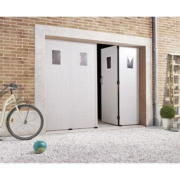 Porte de garage à la française Avec hublot PRIMO H.200 x l.240 cm
